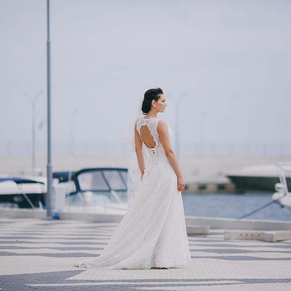 Bride on a dock