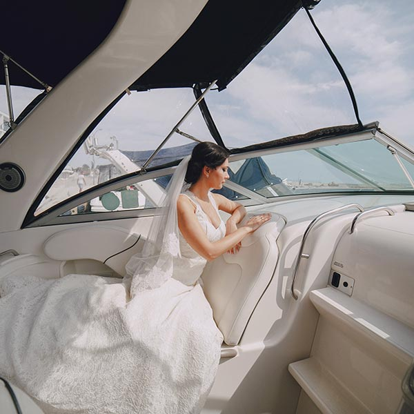 Bride on the yacht